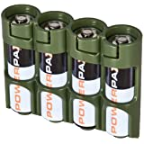 Storacell by Powerpax SlimLine AA Battery Caddy, Military Green, Holds 4 Batteries