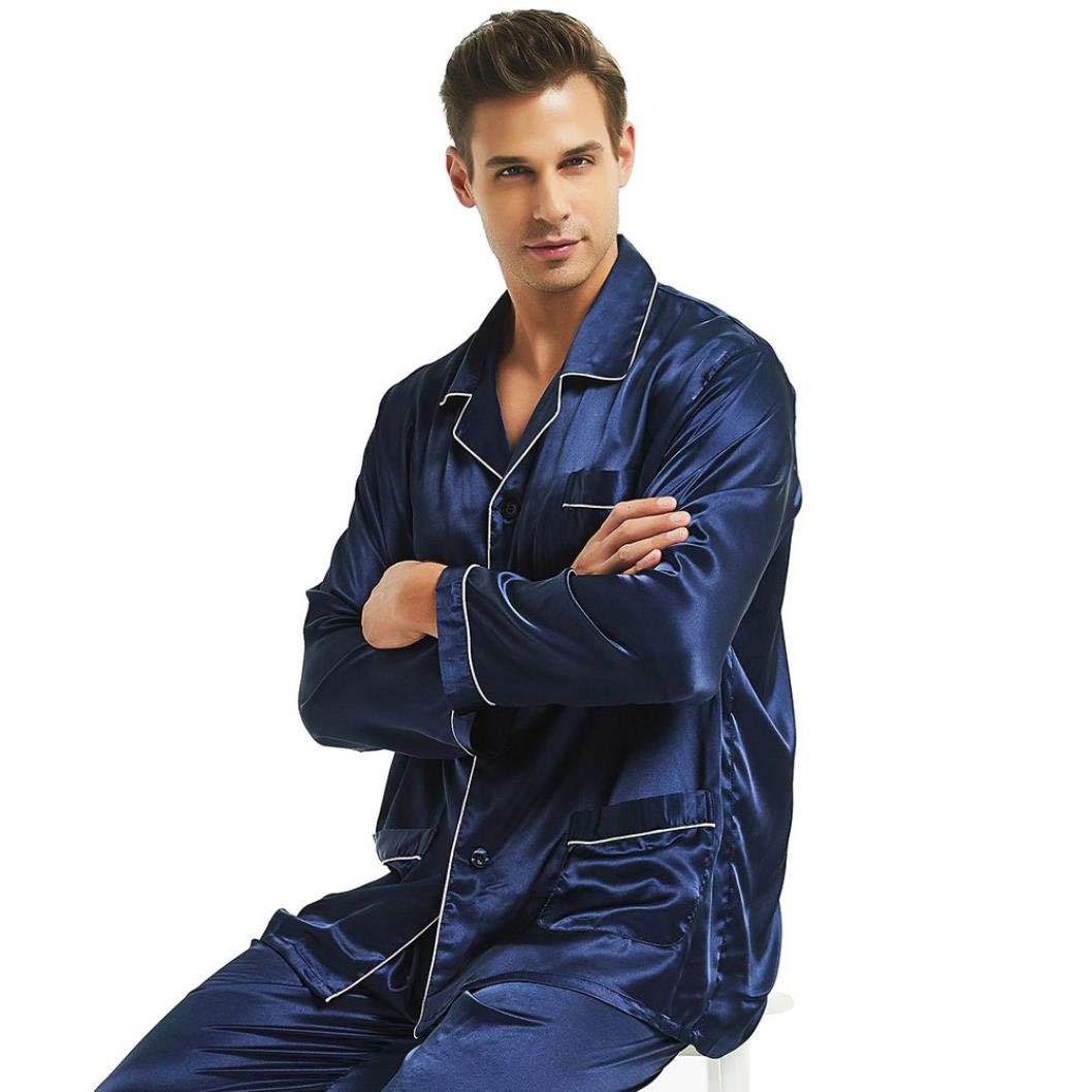 MMjyP Mens Silk Satin Pajamas Set Loungewear S,M,L,XL,XXL,XXXL,4XL