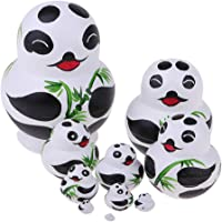 Dolity Set of 10 Pieces Panda Printed Wooden Russian Nesting Dolls Babushka Matryoshka Stacking Doll Kids Crafts
