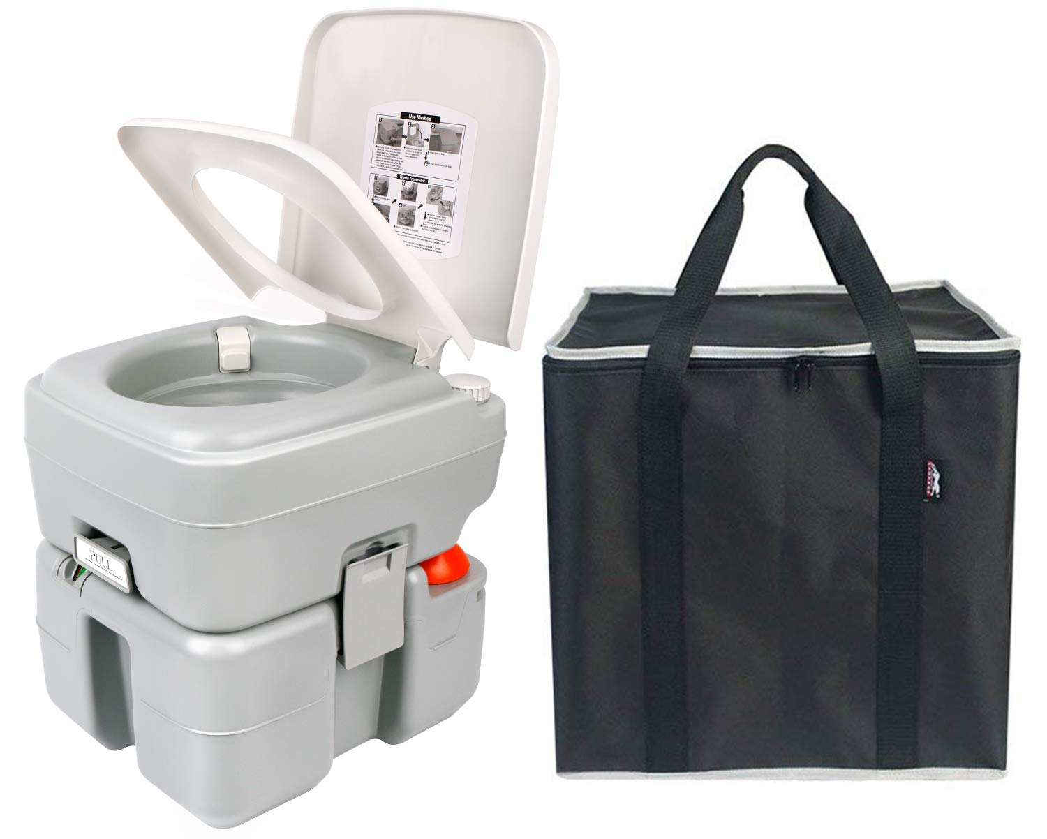 Leopard Portable Toilet 20L, with Level Indicator & Empty Spout, Grey