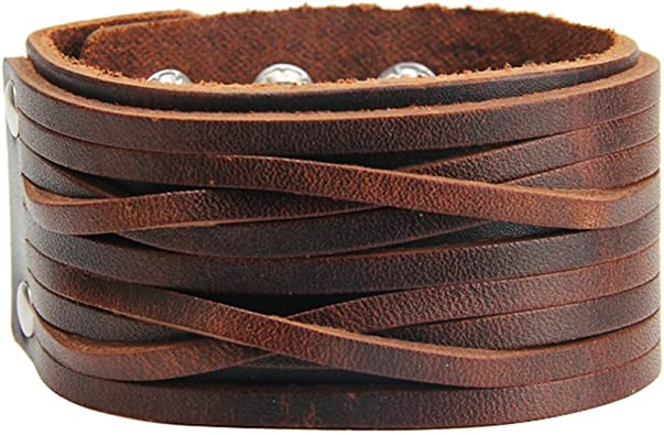 Brown Leather Cuff Mens Gothic Bracelet Cool Wrist Band Jewellery