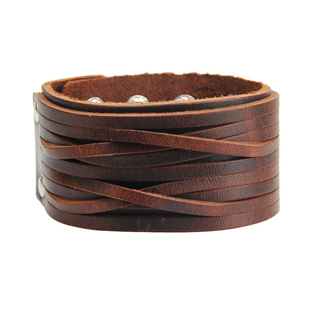 Jenia Brown Leather Bracelet Mens Cuff Bracelets Wrappend Bangle Handmade Braided Wristband Punk Jewelry for Boys, Kids, Women, Girls