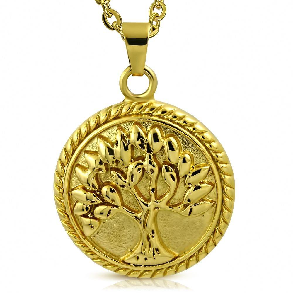 Bungsa Lebensbaum Anhänger Edelstahl Gold (Baum des Lebens Tree of Life Bodhi Pendant Kettenanhänger Amulett Medaillon Charm Beads Chirurgenstahl Damen Herren Schmuck)