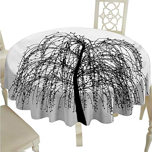 Black and White Washable Table Cloth Monochrome Barren Tree Design Leafless Branches Autumn Themed Nature Image Washable Polyester - Great for Buffet Table, Parties, Holiday Dinner, Wedding & More -