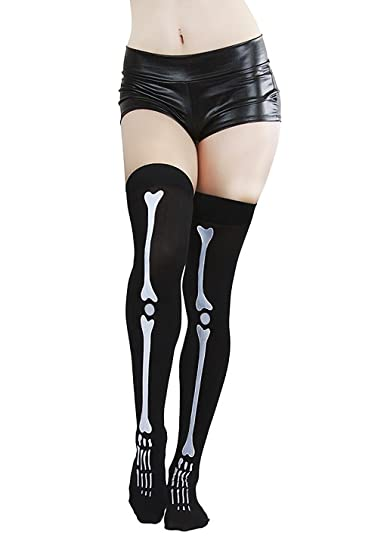 653bfcbf8ec Amazon.com  Novelty Skeleton Bone Thigh High Over Knee Long Socks Stockings  Halloween Costume Great Gift Black  Clothing
