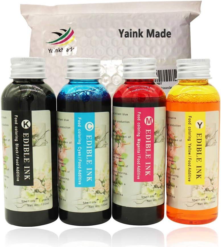 YainkMade 4 Colors Baking Ink Refill kit Compatible for HP Cake DIY Printer