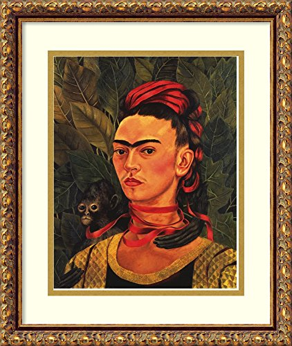 (Framed Wall Art Print | Home Wall Decor Art Prints | Self Portrait with a Monkey, 1940 by Frida Kahlo | Traditional Decor )