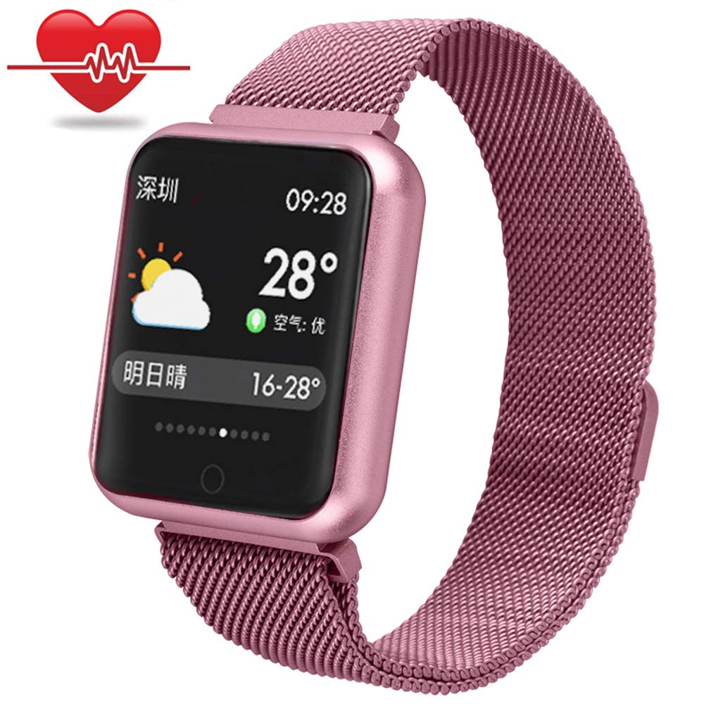 Fitness Tracker with Heart Rate Monitor,Miya Smart Watch with Color Screen Waterproof Step Counter/Calorie Sleep Monito/Pedometer Smart Bracelet for Kid Women Men iPhone Samsung Android - Rose Gold