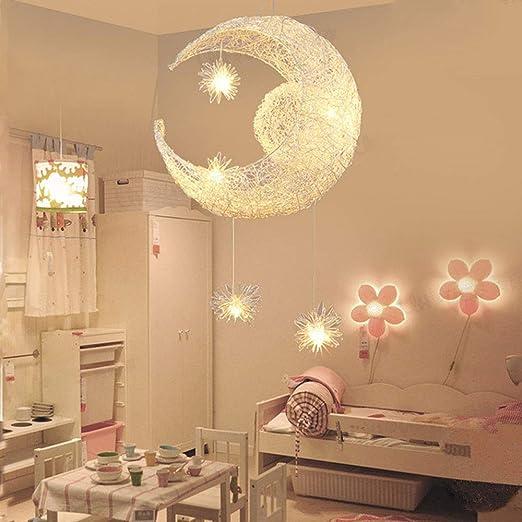 Suspension Luminaire Lune étoiles LED Pendentif Lampe Aluminium Lustre  Plafonnier pour Enfants Chambre Décoration, 9 * 9cm