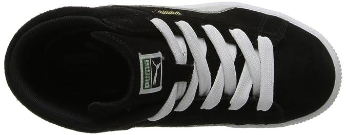 PUMA Suede Classic Mid Sneaker (Little KidBig Kid) , BlackWhiteTeam Gold, 6.5 M US Big Kid