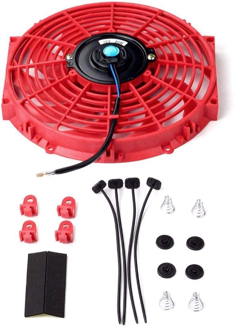 """12"""" inch Slim Fan Push Pull Electric Radiator Cooling Fans 12V Mount Kit Unversal Red"""
