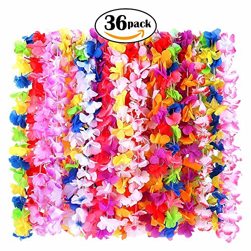 36 Pack Hawaiian Leis Party Supplies with Multicolor Design for Theme Party Event Decorations by (Hawaiian Party Accessories)