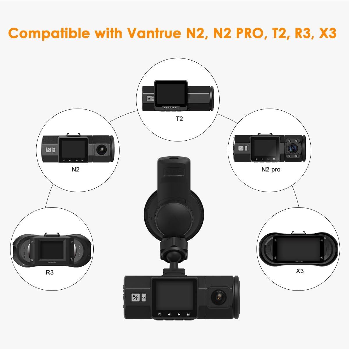 Upgrade New Version Vantrue N2 Pro//N2//T2//R3//X3 Dash Cam Mini USB Port Car Windshield Suction Cup Mount