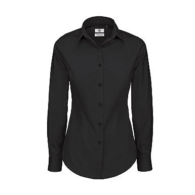 edb1ea32fbc6 B&C Womens/Ladies Black Tie Formal Long Sleeve Work Shirt: Amazon.co ...