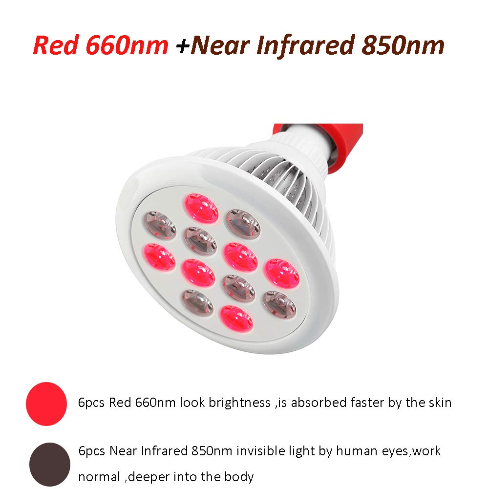 SGROW 24W Red Led Light Red 660nm and Near Infrared 850nm Led Light Therapy Bulbs for Skin and Pain Relief by sgrow (Image #3)