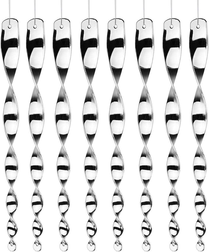 BEMEI Ahuyentador de pájaros para ahuyentar pájaros, Espiral de Viento Reflectante en Plata para decoración de balcón y jardín, 8