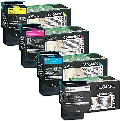 Lexmark C543dn High Yield Black with Standard Yield Color Toner Cartridge Set