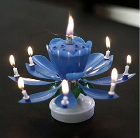 ANKEE R Birthday Candle Blooming Lotus Candles Musical Amazoncouk Electronics
