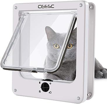Amazon.com: CEESC Puerta para gato, puerta magnética para ...