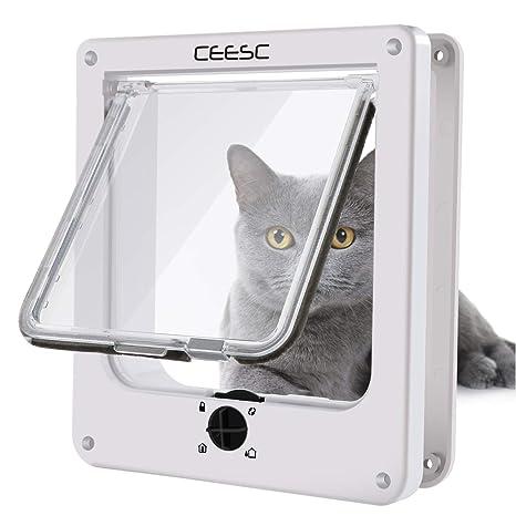 CEESC Puertas para Gatos, Puerta magnética para Mascotas con Bloqueo Giratorio de 4 vías para Gatos, Gatitos y Gatitos, versión Mejorada