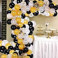 Globos Negros y Dorados y Blanco, Globos Kit de Guirnalda de Confeti Fiesta Globos Blancos de 105 Pzas para Decoracion Cumpleaños, Decoracion Bautizo, Decoracion Boda con 2 Cuerdas de Rollos