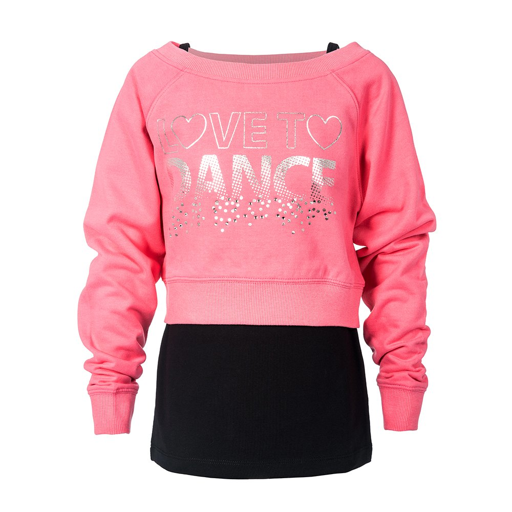 Brody & Co. Girls Dance Sweatshirts Vests Double Layer Tops Diamante Love to Dance Silver Sparkle Logo Gym Workout Play by