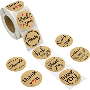 500PCS Thank You Stickers Perforated Kraft Roll Sticker Labels for Home Kitchen Wedding Birthday Baby Shower Party Supply