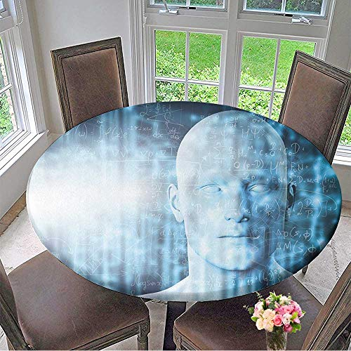Mikihome Round Table Tablecloth Virtual Reality Projection Human and Conceptual Cyberspace,Smart Artificial Intelligence for Wedding Restaurant Party 55