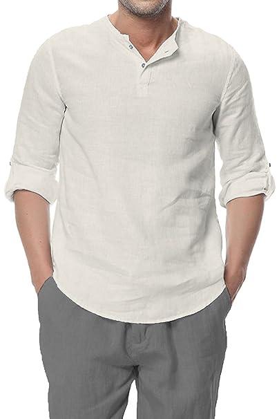 Najia Symbol Camiseta Henley Vintage de 100% Lino Hombre sin Cuello Manga 3/4 338: Amazon.es: Ropa y accesorios