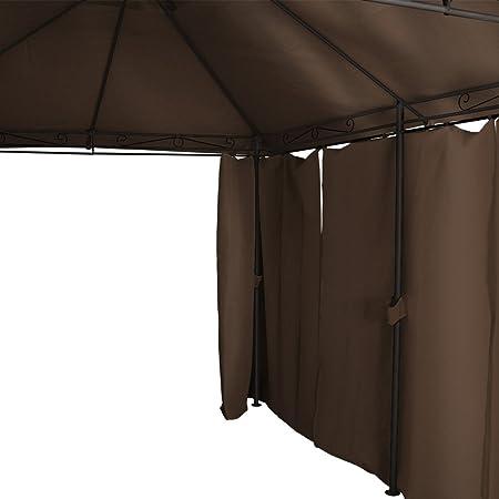MIADOMODO Carpa de Jardín - 3 x 4 m, con Cortinas y Techo Doble, Estructura Metálica de Diseño, Ideal para Fiestas Eventos Bodas Cenas, Color a Elegir - Gazebo, Cenador, Pabellón, Tienda