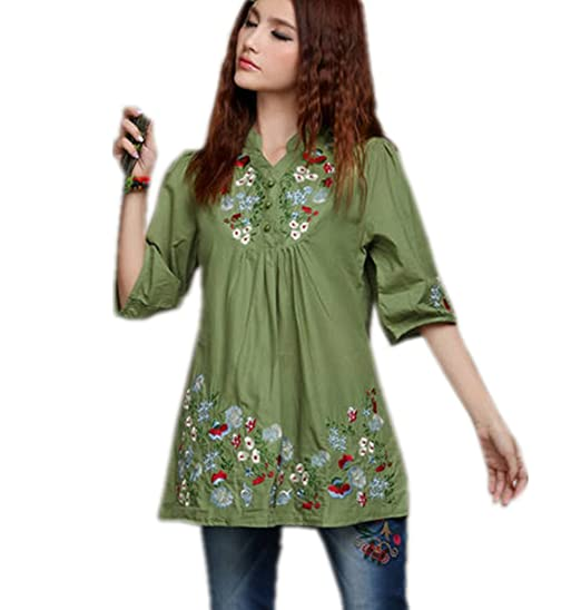 abf569aa71fcd Kafeimali Women's Mexican Blouse Embroidered Peasant Dressy Tops 3/4 Sleeve