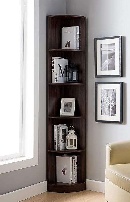Major Q Modern Contemporary Design 71quot H 5 Tier Corner Bookshelf Bookcase Diaplay Case