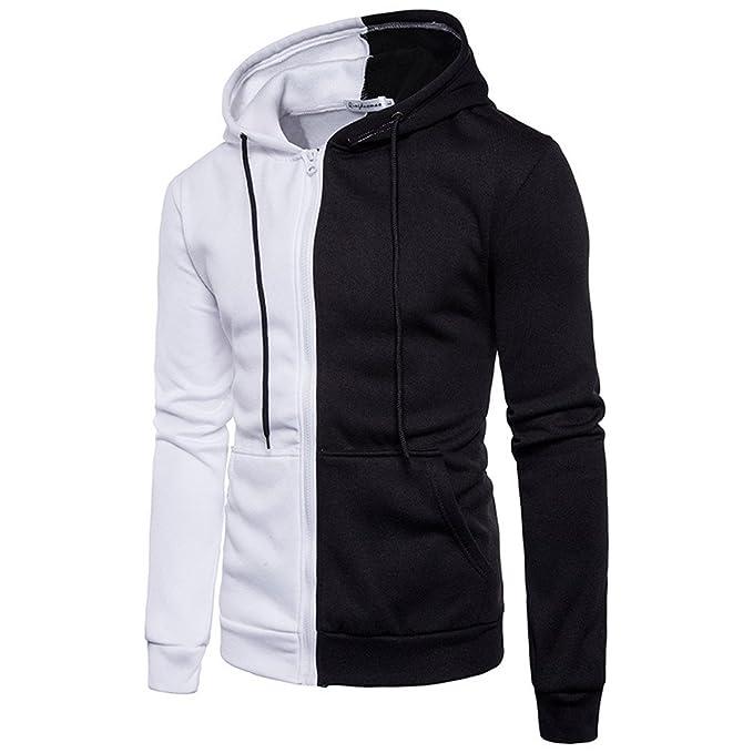 Toimothcn Hoodie Men Long Sleeve Stitching Zipper Hooded Coat Jacket Sport Fitness at Amazon Mens Clothing store: