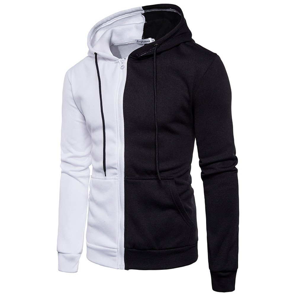 MODOQO Men's Zipper Hoodie Cotton Sweatshirt Pullover Jacket Coat with Pocket (White ,XL)