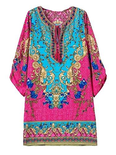 Honeystore Women's Embroidered Print Indian Wear Kaftan Tribal Tunic Shift Dress Color2 S (Plus Size Indian Fancy Dress)