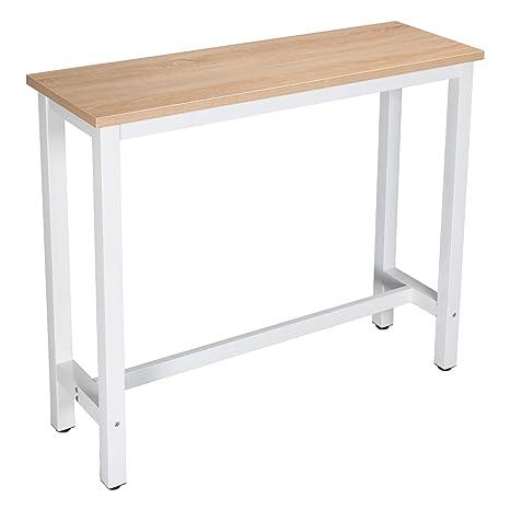 WOLTU Tavolo da Bar Alto Tavolino per Cucina in Metallo Legno 120x40x100 cm