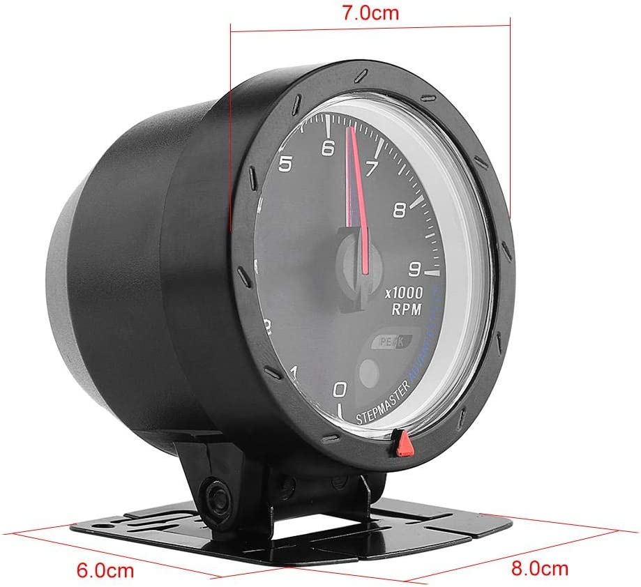 12V 9000 RPM tachometer red and white light 60mm tachometer with stand black face LED Backlight
