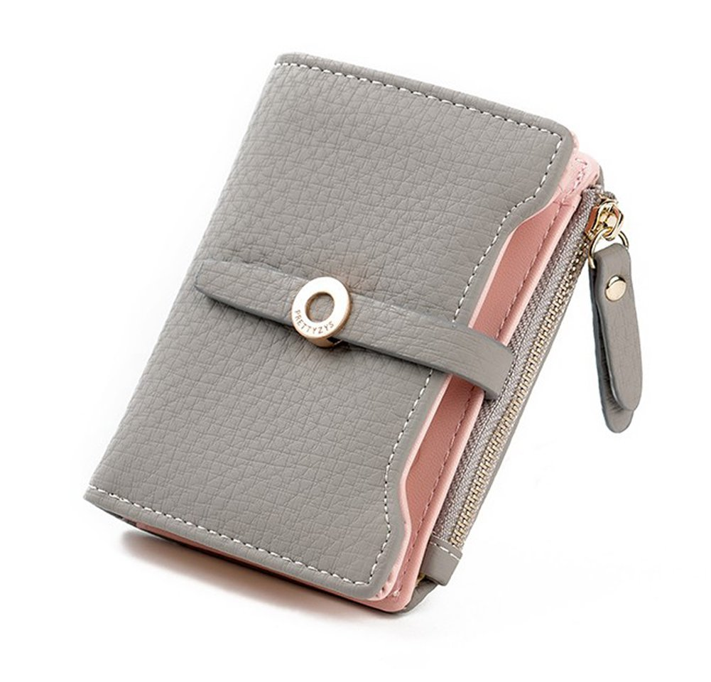 Nawoshow Women Cute Small Wallet PU Leather Girls Change Clasp Purse Card Holders Coin Purse (Grey)