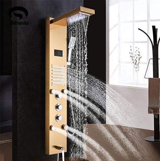 Panel de Ducha Dorado Luz LED Baño Ducha de baño Columna Torre ...