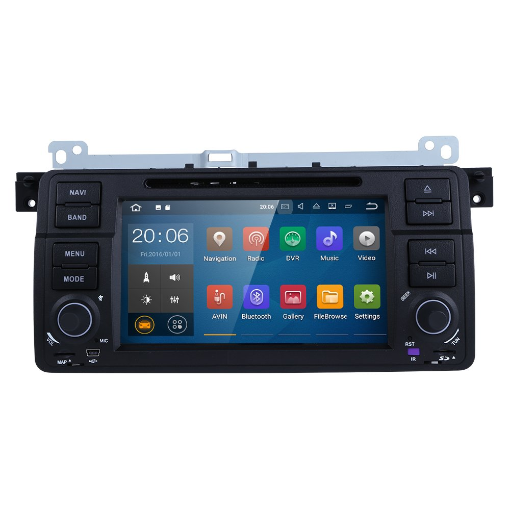 HIZPO Android 7.1 OS Quad Core 1024600 HD Touchscreen Car Radio DVD Player with GPS Navigation fit for BMW 3 Series E46 M3 318 320 325 330 335