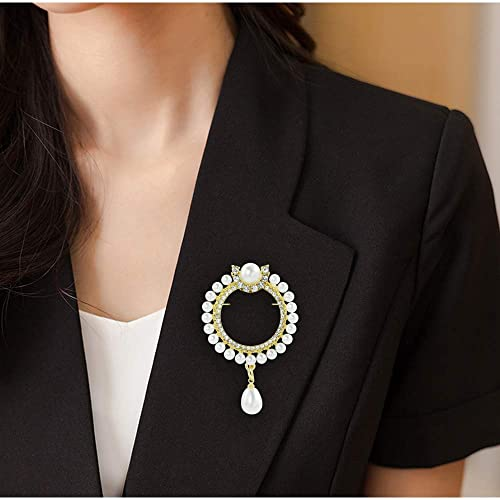 811d60416cf Amazon.com: Mamfous Simulated Pearl Round Wreath Brooch for Women with Rhinestone  Jewelry Accessories: Jewelry