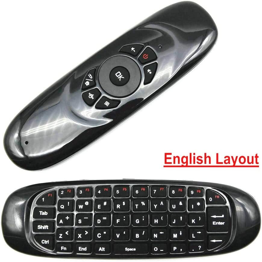 Color: English layout Calvas C120 Arabic Russian Spanish Layout Air mouse no microphone remote control for TV box Smart TV IPTV H96 PLUS