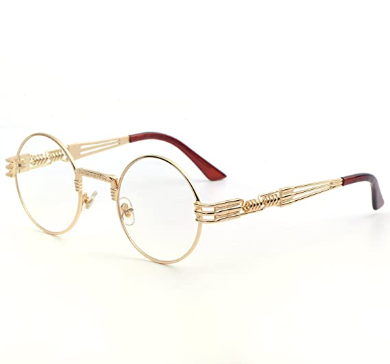 f5f44af980 QIYIGE John Lennon Style Metal Spring Frame Round Steampunk Glasses with  Clear Lens (Gold Frame