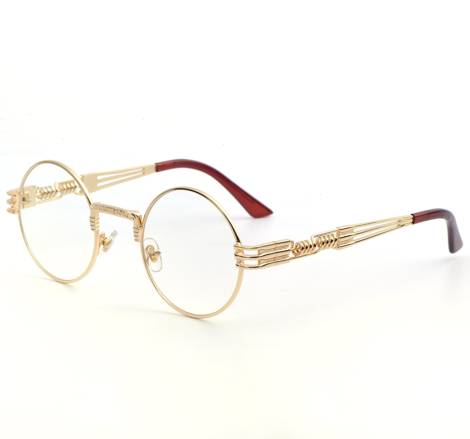 QIYIGE John Lennon Style Metal Spring Frame Round Steampunk Glasses with Clear Lens (Gold Frame/Clear Lens, 51) by QIYIGE