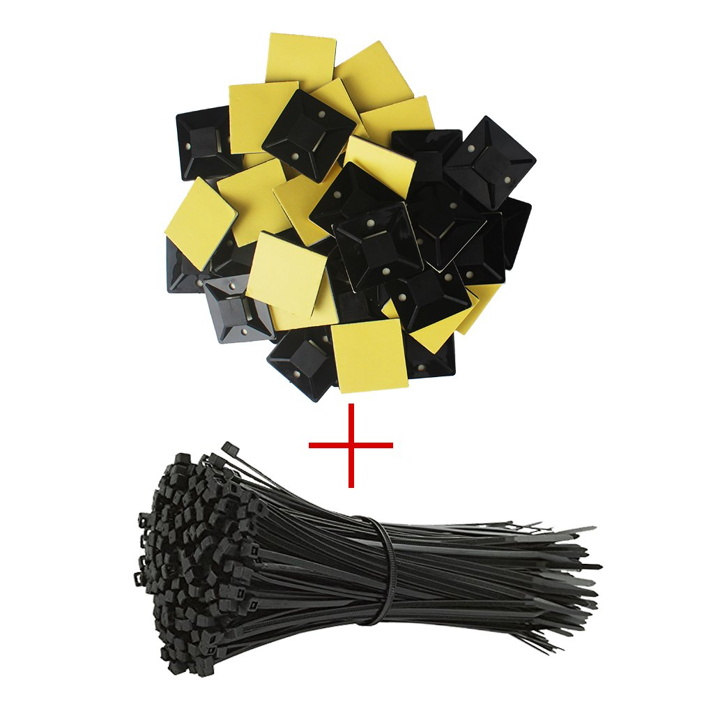 Amariver Cable Zip Ties Cable Tie Mount Base Holders, 100 Pack Adhesive Cable Tie Mount Base Holders with 100 Pieces Nylon Cable Zip Ties for Home, Office and Car (Extra Large, Black)
