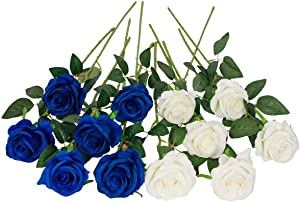 Floralsecret 12 Pcs Artificial Silk Rose Flower Bouquet Faux Flowers Home Wedding Party Decor(White,Blue)