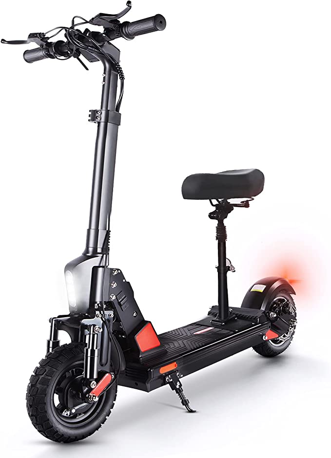 Electric Scooter Adult Fast 50 Km/h, 500W Motor 13Ah 48V Battery 45 Km Long Range, 10 Inch Off-road Tires Foldable Commuter E-Scooter with Seat for Adults