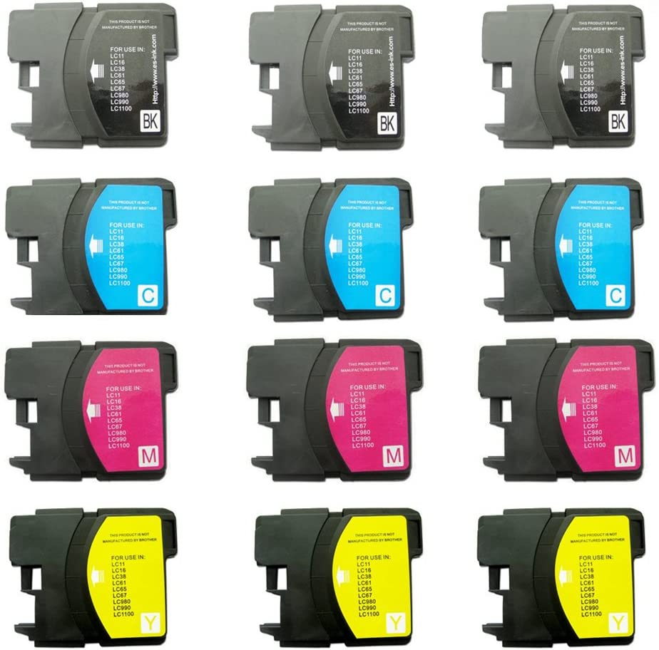 INKTONER 12 Pack Compatible Cartridges for Brother LC-61 LC61 Includes Cartridges for 3ea CL-61 Black 3ea LC-61 Cyan 3ea LC-61 Yellow. 3ea LC-61 Magenta