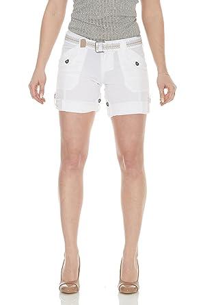3f3dd2256499f Suko Jeans Womens Convertible Stretch Poplin Bermuda Shorts 47050 White 4
