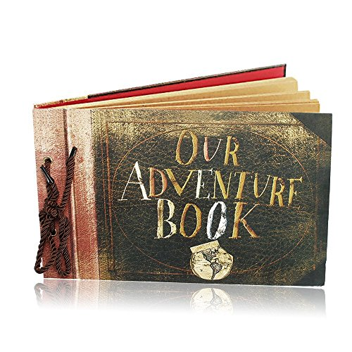 Our Adventure Book Travel Scrapbook Photo Album Pixar Up Handmade DIY Retro Book for Craft Paper, Valentines Day Gifts, Wedding Guest Book, Anniversary Memory Book by FunSponsor (Retro) by FunSponsor